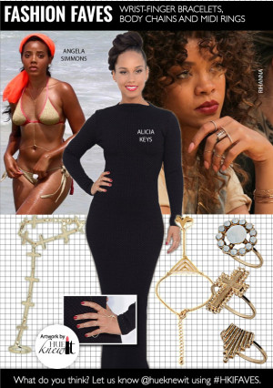 Jewelry Trends: Wrist-Finger Bracelets, Body Chains and Midi Rings