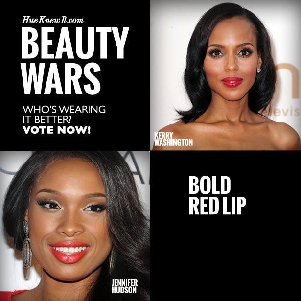 HueKnewIt Beauty Wars: Bold Red Lip Trend - Kerry Washington or Jennifer Hudson
