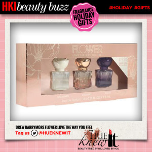hueknewit beauty buzz fragrance holiday gifts drew barrymore flower love the way you feel