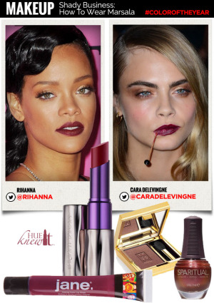 hueknewit MAKEUP How to wear marsala Cara Delevingne Rihanna