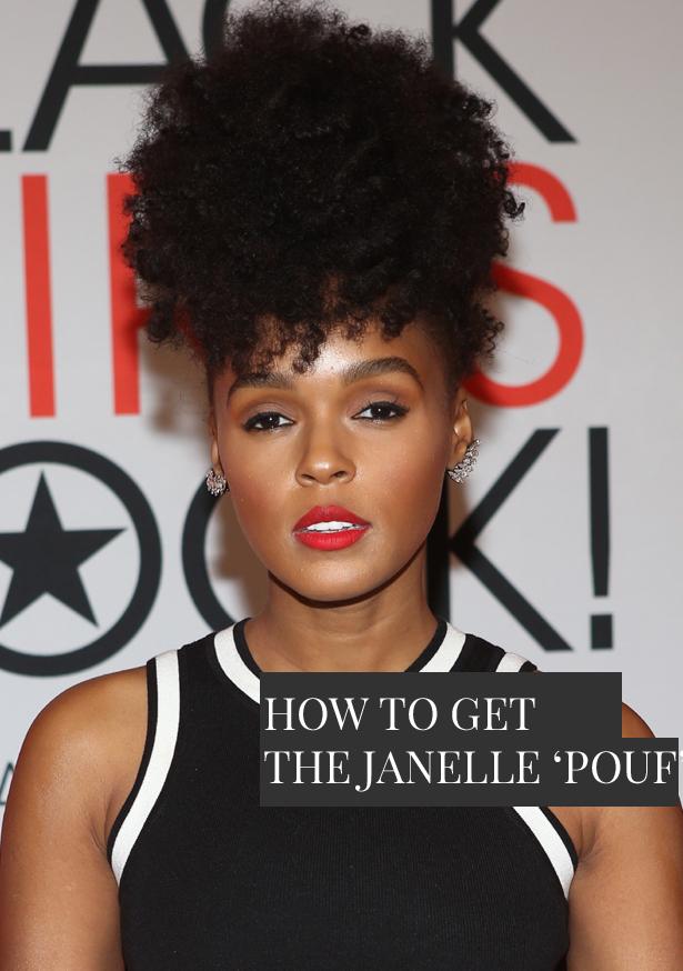 Janelle Monae natural hair pouf