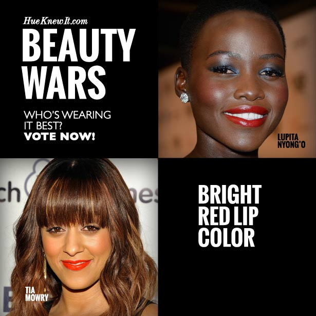 HueKnewIt - Beauty Wars: Bright Red Lipstick Color - Lupita Nyong'o or Tia Mowry