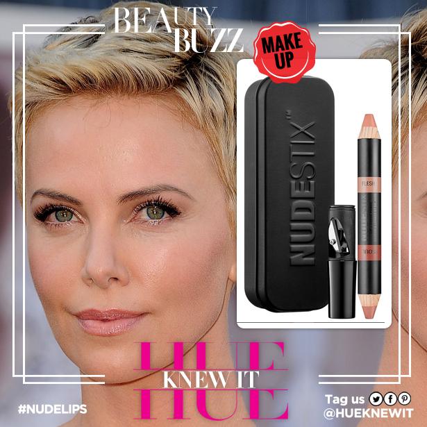 Charlise Theron nude lipstick look