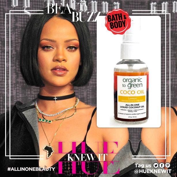 Rihanna coconut oil glossy skin